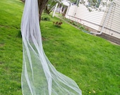 Custom Long Cathedral Length Wedding Veil Made to Order 1 Tier Silver Pencil Edge