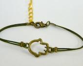 Hamsa Bracelet, green cord bracelet with a bronze hamsa charm, green string, stack bracelet, minimalist jewelry