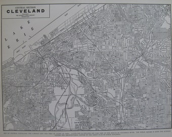 Vintage CLEVELAND Map of Cleveland Ohio 1939 Black and White Map Gallery Wall Art Map Collector Gift for Traveler 7030