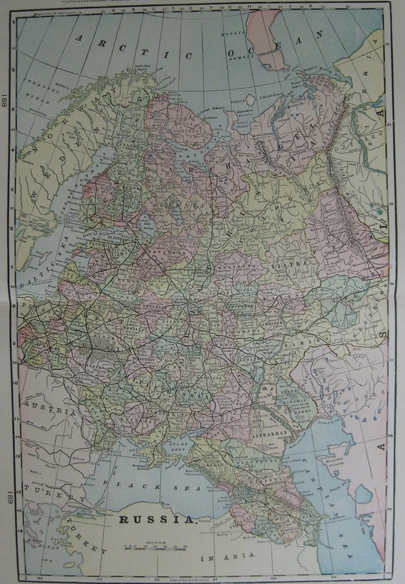 Vintage RUSSIA MAP of Russia  1900 Travel Gallery Wall Antique Map  Plaindealing 260