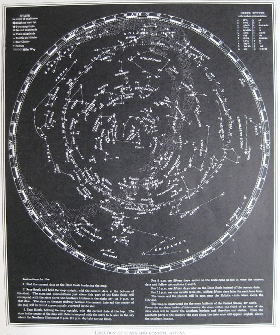 Vintage STARS and CONSTELLATIONS Map 1949 ASTRONOMY 1940s Map Plaindealing 810