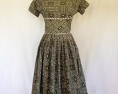 Vintage 50's Adorable Olive Green Country Girl Dress - Small