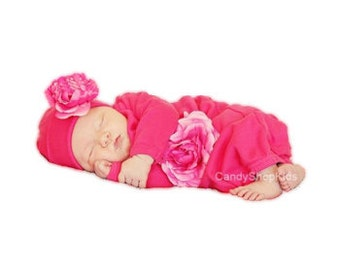 Take Me Home Outfit for Baby Girl - Fuchsia Flowers Sac and Hat Set by Candy Shop Kids
