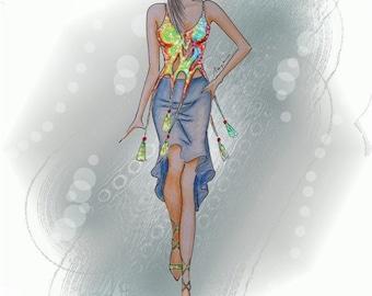 Fashion illustration, art print, 8x12 inch, SALE 40% OFF WAS 16 now 10