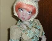 BJD cashmere White Kitty hat for Kaye Wiggs dolls