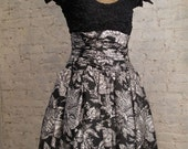 50s Black and White Silk Cocktail Dress