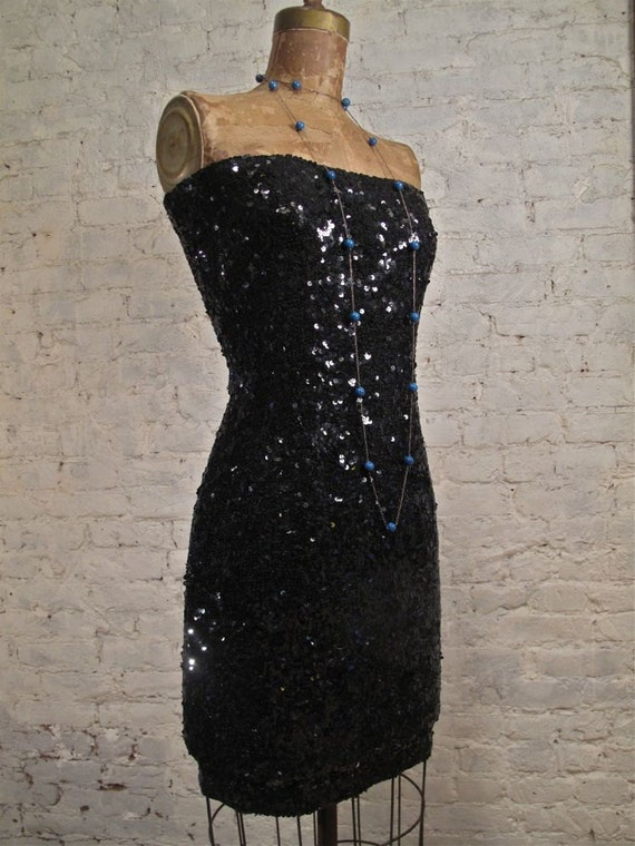 80s Donna Karan Beaded Strapless Sheath Dress