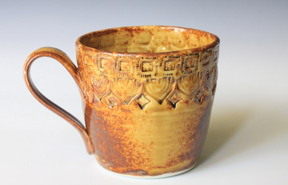 SALE Porcelain Ceramic Mug with Hand Stamped Design in Amber Celadon Glaze, Wheel Thrown OOAK