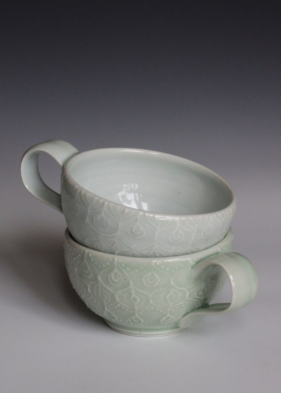 Wheel Thrown Porcelain Ceramic Cup with Hand Painted Slip Trailed Design