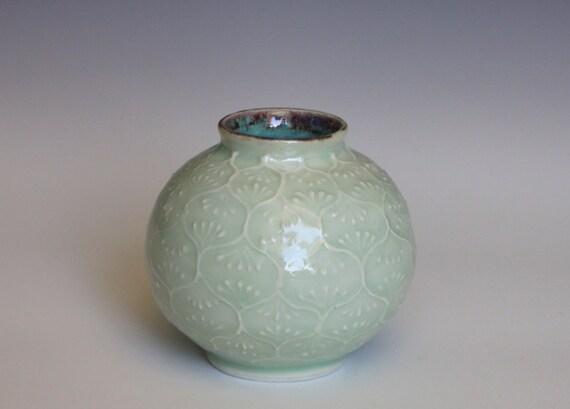 Ceramic Bud Vase with Slip Trailed Design in Light Green Glaze, Wheel Thrown Porcelain OOAK