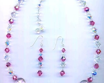 SWAROVSKI Rose Pink 18mm Pagoda - Article 5107 - with Rose and Clear AB Crystals Necklace and Earrings
