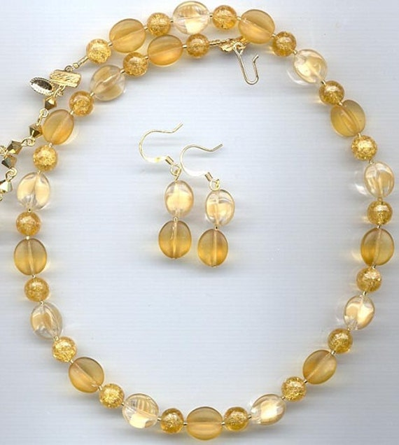 Vintage Crackle Glass with Beige and Light Topaz German Glass Necklace & Earrings - New in Box - signed