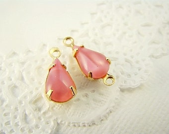 Vintage 10x6mm Teardrop Pink Moonstone Glass Jewels in Brass Settings Drop or Connector - 6