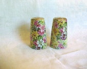 Floral Chintz Pottery Salt and Pepper Shakers - Gold Top - purple, pink, white and yellow flowered chintz ceramic - S & P Set