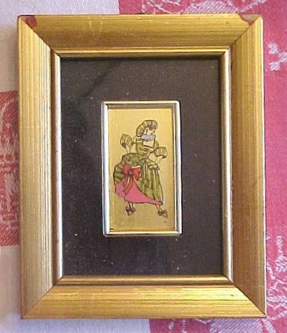 Italian Framed Reverse Painted on Glass - Comedia del Arte Gold Leaf Pictures - Set of 4 - Mini Art