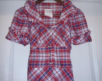 Vintage Blue, Red and White Plaid Blouse - Size Extra Small