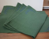 Green fancy placemat 4 pack with rhinestone bling