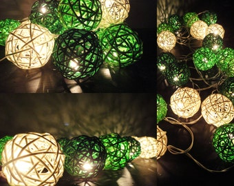 20 Mixed Green Tone Handmade Rattan Balls Fairy String Lights Party Wedding Patio