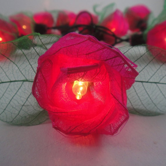 35 Pink Rose Flower Fairy String Lights Wedding Party Patio Spa Floral Decor 3.5m