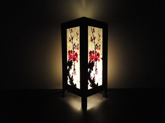 Asian Oriental Japanese Sakura Tree Branch Cherry Blossom Art Bedside Table Lamp or Bedside Wood Paper Light Shades Furniture Home Decor