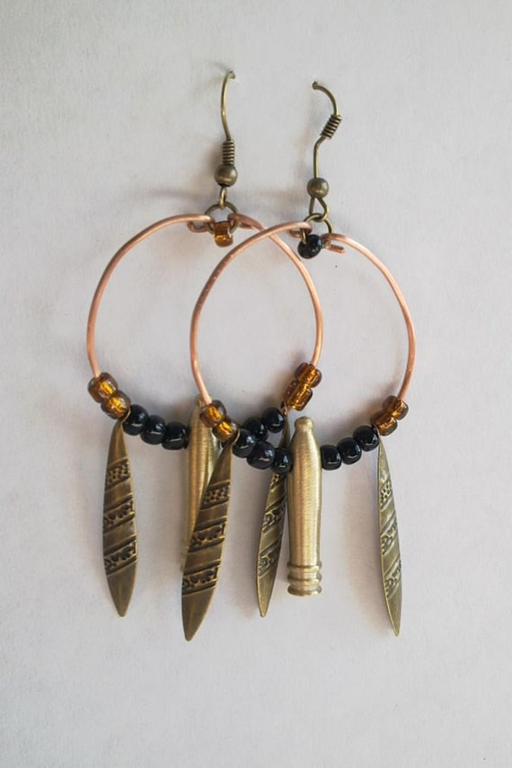 Sky Pirate Earrings, Steampunk style - 'The Airship Pirate Lass' - brass cannons on beaded copper hoops