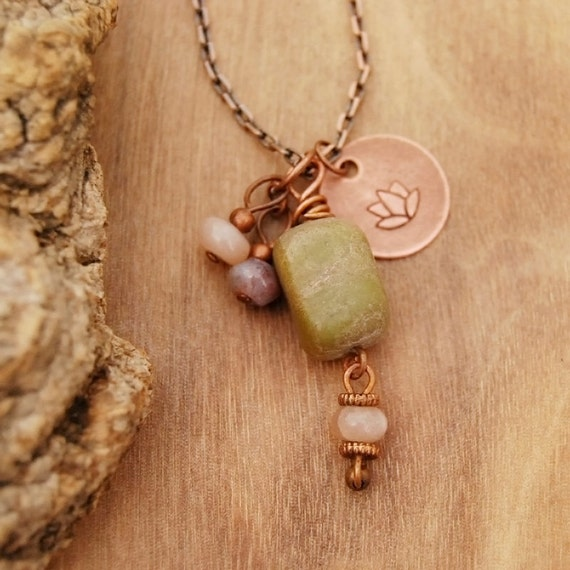 Yoga necklace - lotus flower charm with green jade, moonstone and fancy jasper gemstone