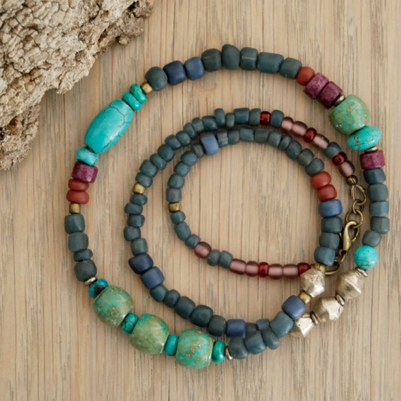 ethnic jewelry - boho hippie necklace - beaded necklace with turquoise and Indonesian glass