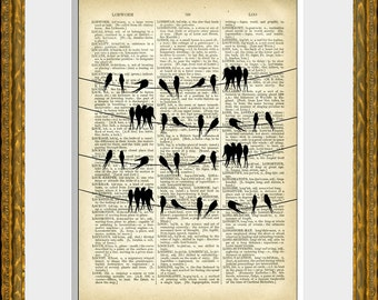 Book Page Art Print - SONGBIRDS ON A WIRE - an upcycled antique dictionary page with a vintage bird illustration - home decor