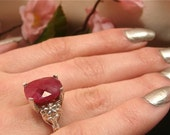 Reserved for Ethel -70% OFF Large 5.0ct Ruby Ring Opaque Faceted Solitaire, Carved Floral Sterling Silver. Seattle Jewelry (Value 750 USD)