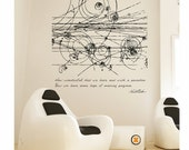 Science art physics Niels Bohr's inspirational quote and particles' collision EXTRA LARGE vinyl wall decal for scientific decor (ID: 121015)