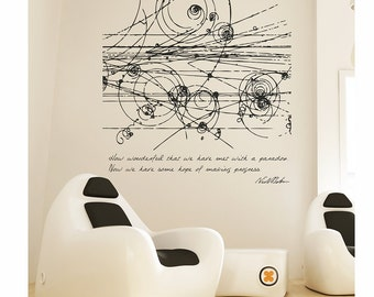 Science art physics Niels Bohr's inspirational quote with particles' collision vinyl wall decal for your university decor (ID: 121017)