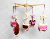 Baby Crib Mobile  Baby Mobile Owl Mobile Crib mobiles Cotton Mobile Nursery mobile owl design Pink Beige Brown