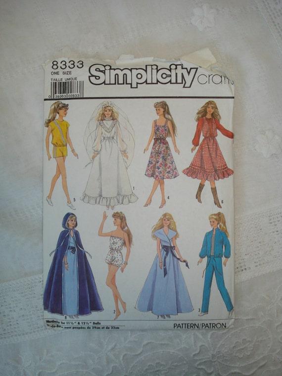 Vintage Simplicity Barbie Clothes Pattern 8333 Uncut 1987