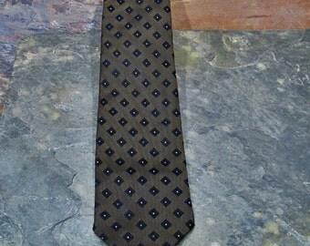 Skinny Diamond Pattern Tie - Dark Olive - Vintage 1960s - Mad Men Era Skinny Tie
