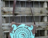 Upcycled Turquoise Screen Printed Brown Cargo Pants Shoulder Bag with Multiple Pockets and Leather Belt Strap