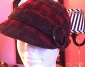 Vintage Burgandy and Black Hat Bucket style womans Hat with black buckle Scala Pronto 20""