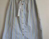 Vintage 80's Vertical Pinstripe Skirt with belt pastel stripes / A-line skirt / Midi Skirt