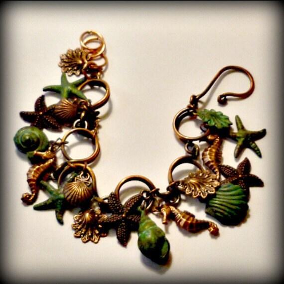Sea Horses Bracelet in Copper and Verdigris