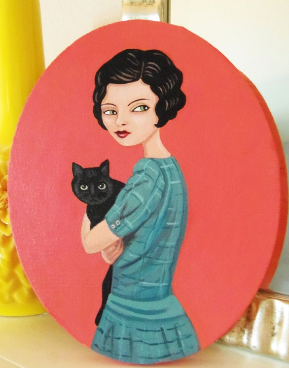 Charlotte's cat,  an original painting of a vintage inspired woman with holding her beloved cat.