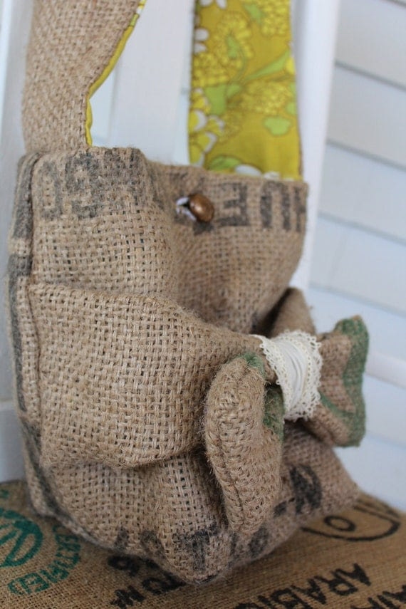 ON SALE NOW burlap coffee tote messenger bag carrier purse with bow fully lined vintage tan green yellow
