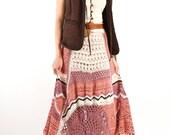 Bohemian Hand Crochet Maxi Skirt, Knit skirt, Spring maxi skirt, Festival cotton skirt, One-of-a-Kind skirt