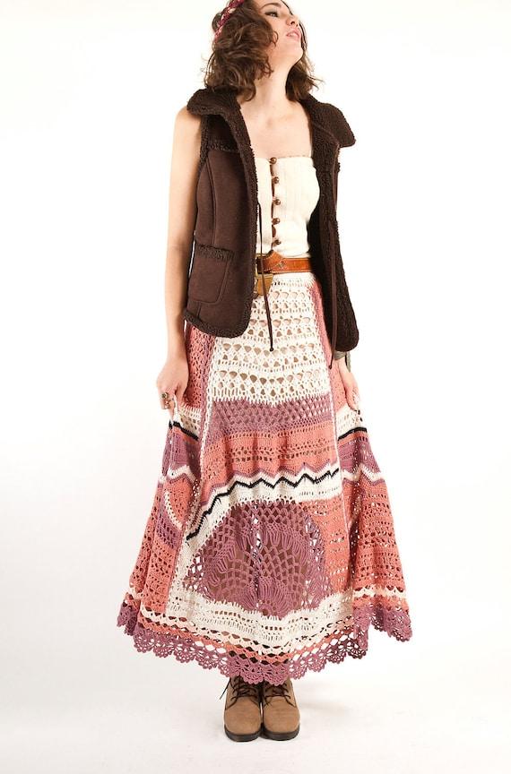 bohemian crochet maxi skirt knit skirt maxi