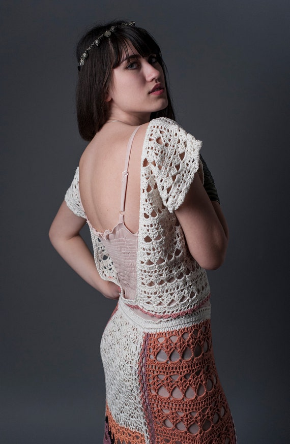 RESERVED for MARLYN, White Hand Crochet Top with Open Back, Spring wedding, Crochet cropped top, Festival top, Hippie top