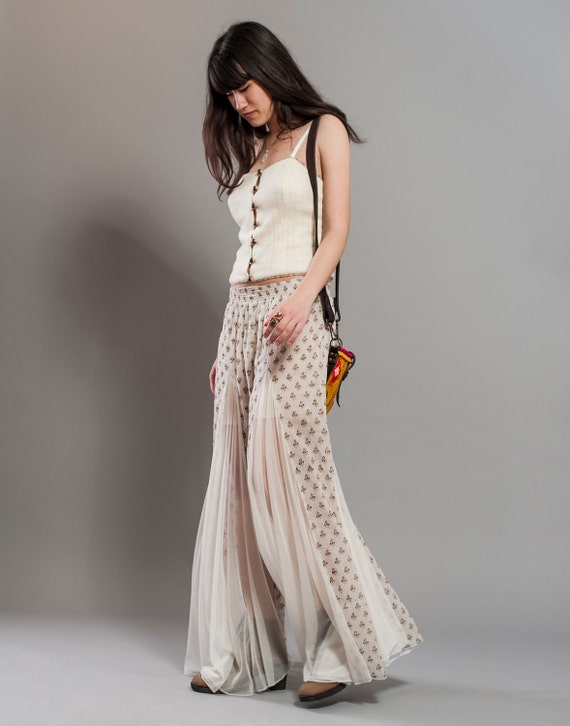 RESERVED for EILEEN - Wide leg pants with Floral Block Print Indian Cotton and Mesh, Palazzo Pants, Made to Order
