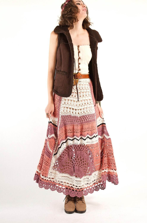 Bohemian Hand Crochet Maxi Skirt Knit skirt Spring maxi