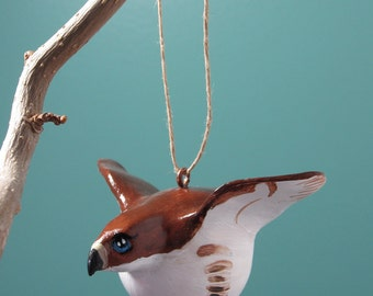 Bird ornament Christmas holiday - red-tailed hawk ornament sculpture - handpainted, handsculpted ornament