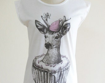Deer Happy New Year Cupcake T shirt Women clothing tops cute tees cool tank deer t shirt fresh tank top Screen Print White T-Shirt Size S