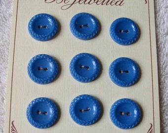 Vintage 1940's Cornflower Blue Plastic Buttons (Card of 9)