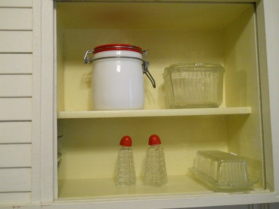 vintage milk glass canister with red lid cottage chic farmhouse decor