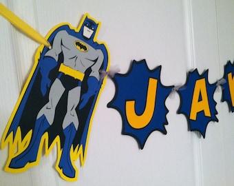 Batman Birthday Banner, Batman Name banner, Batman Bedroom, Batman Banner